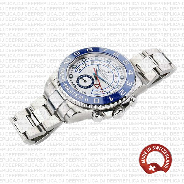 Rolex Oyster Perpetual Yacht-Master II 904L Stainless Steel White Dial 44mm with Blue Ceramic Bezel Watch
