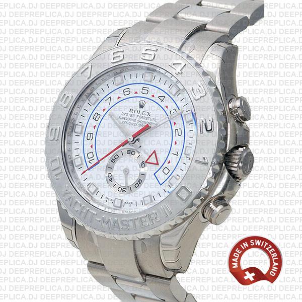 Rolex Yacht Master Ii White Dial 18k White Gold Platinum116689 44mm