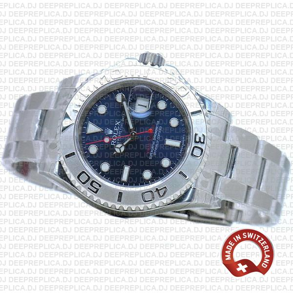 Replica Rolex Yacht-Master 40mm Platinum 904L Stainless Steel Blue Dial with Oyster Bracelet