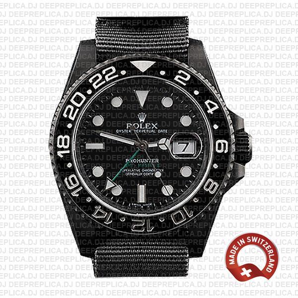 Rolex GMT-Master II Pro Hunter DLC 904L Steel NATO Strap Black Dial Black Ceramic Bezel 40mm