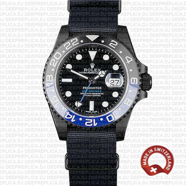 Rolex GMT-Master II Pro Hunter Black Blue   Swiss Replica